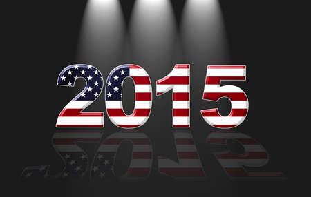 Illustration with Usa new year  2015 on black background  illustration