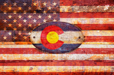 flag of colorado: Illustration with a wooden flag of Colorado  Stock Photo