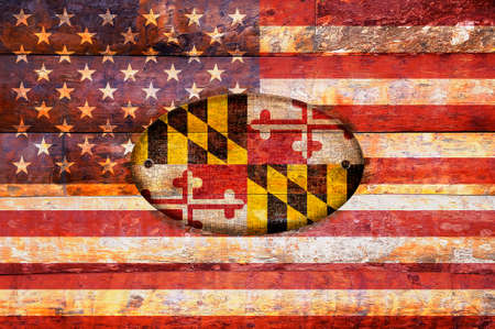 maryland: Illustration with a wooden flag of Maryland