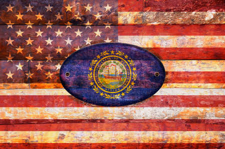viejo: Illustration with a wooden flag of New Hampshire  Stock Photo