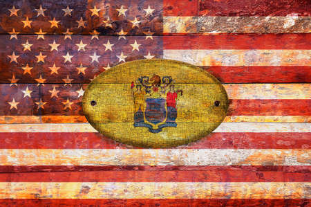 jersey: Illustration with a wooden flag of New Jersey  Stock Photo