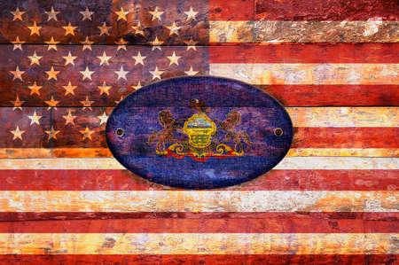 pennsylvania: Illustration with a wooden flag of Pennsylvania  Stock Photo