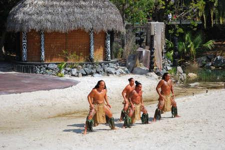 SALOU, SPAIN - APRIL 17  PortAventura theme park in Abril 17, 2014 in Salou, Spain  Dancers performance traditional show at polynesian area