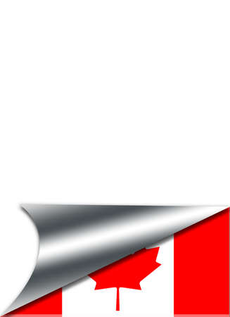 folded paper: Folded paper with a Canada flag on white background