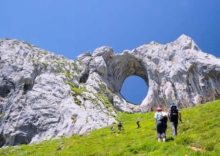 Fmily on a mountain path in Asturias, Spain  Stock Photo