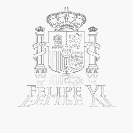 vi: Illustration with coat of spain and Felipe VI  Stock Photo