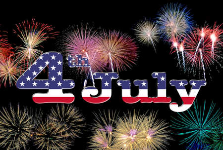 4 th July with USA flag and fireworks 版權商用圖片 - 29315575
