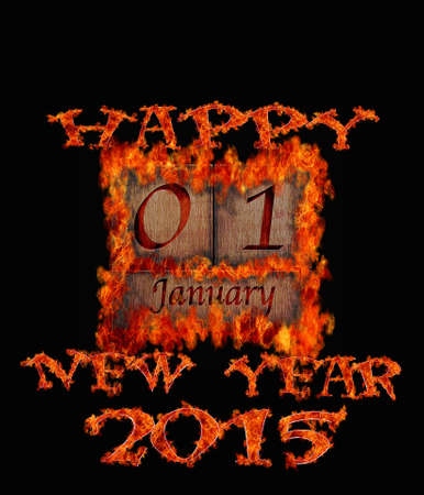 january 1: Illustration with a burning wooden calendar January 1 2015  Stock Photo