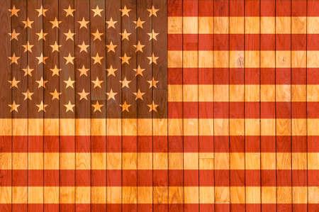 미국 국기 배경과 오래 된 나무 매듭