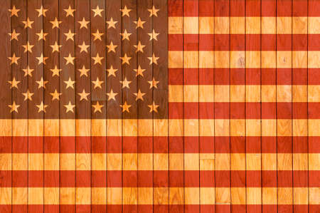 USA flag background of old wood with knots  Imagens