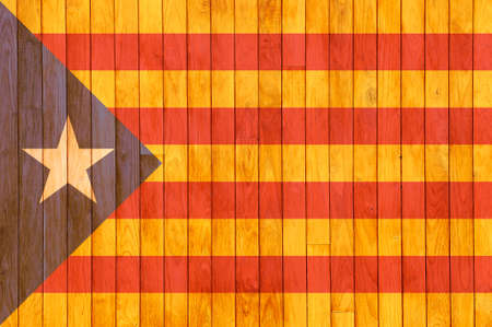catalonia: Catalonia independence flag  background of old wood with knots