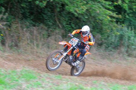SARIEGO, SPAIN - AUGUST 19  Sariego motocross in August 19, 2014 in Sariego, Spain  Motorcycle Rider Ruben Fernandez in the motorbike race