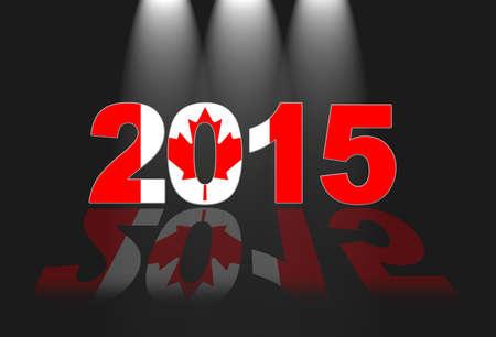 Illustration with 2015 Canada flag on black background. Фото со стока