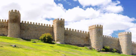 View walls of Avila city in Spain.