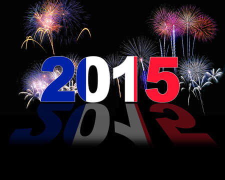 Illustration with 2015 France flag and fireworks.