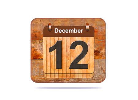 a 12: Calendar with the date of December 12. Stock Photo