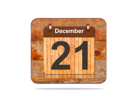 december 21: Calendar with the date of December 21. Stock Photo