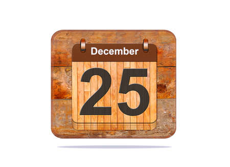 december 25: Calendar with the date of December 25. Stock Photo