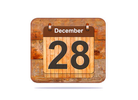 28: Calendar with the date of December 28.