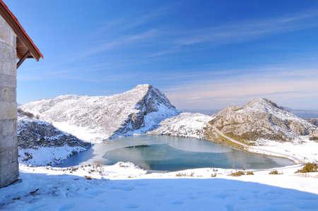 picos: Enol lake in the Picos de Europe in Asturias, Spain.