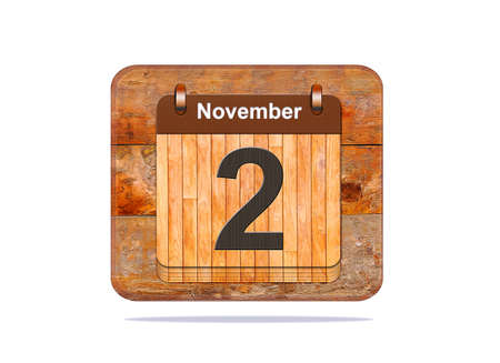 2 november: Calendar with the date of November 2. Stock Photo
