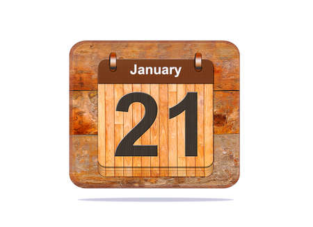 21: Calendar with the date of January 21.