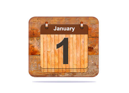 1 january: Calendar with the date of January 1.