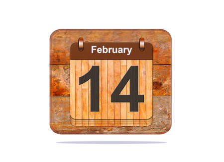 february 14: Calendar with the date of February 14.