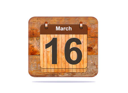 16: Calendar with the date of March 16.