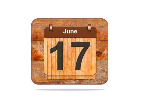 17: Calendar with the date of June 17. Foto de archivo