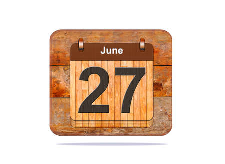 27: Calendar with the date of June 27.