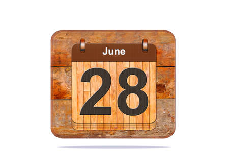 28: Calendar with the date of June 28.