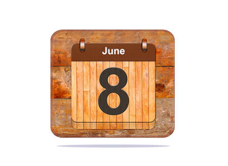 Calendar with the date of June 8. photo