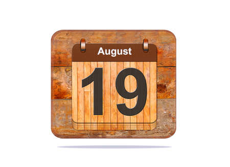 19: Calendar with the date of August 19. Stock Photo