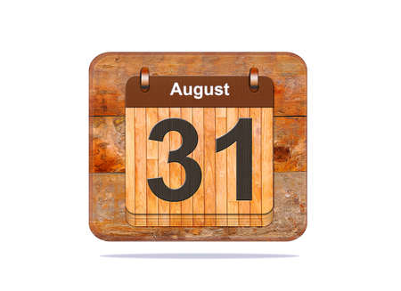 31: Calendar with the date of August 31. Stock Photo