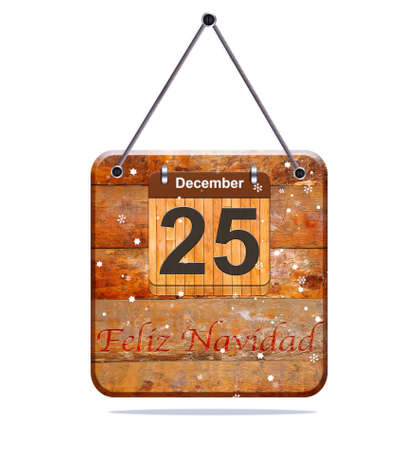 december 25: Happy Christmas, December 25 isolated wooden calendar. Stock Photo