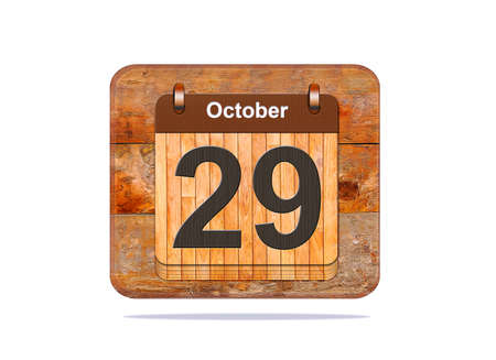 29: Calendar with the date of October 29. Stock Photo