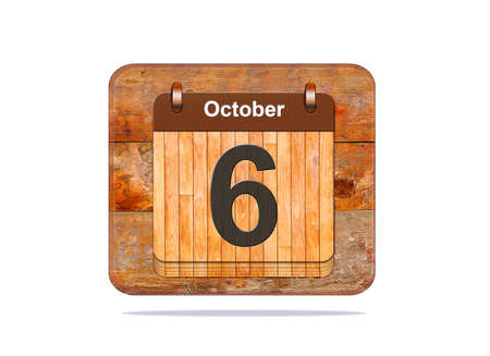 october: Calendar with the date of October 6.
