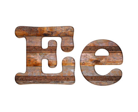 Illustration with E letter in wooden and rusty metal. illustration