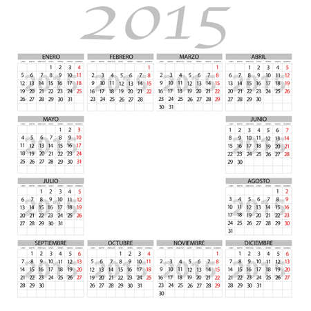 months: Illustration 2015 calendar with the twelve months of the year