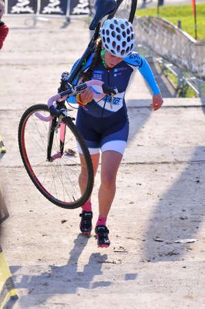 desiree: GIJON, SPAIN - JANUARY 9: Cyclocross Championships Spain in January 9, 2015 in Gijon, Spain. The cyclist Desiree Duarte Castro of Galicia team in relay race.