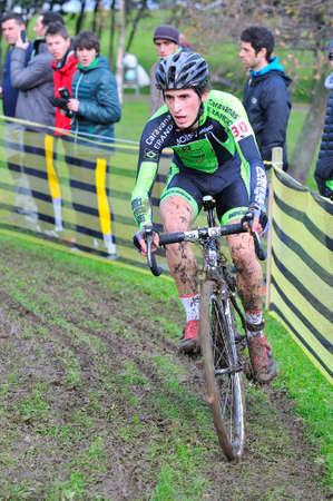 gomez: GIJON, SPAIN - JANUARY 11: Cyclocross Championships Spain in January 11, 2015 in Gijon, Spain. The cyclist Iñigo Gomez Elorriaga compete in elite cycle race of cyclocross championship of Spain.