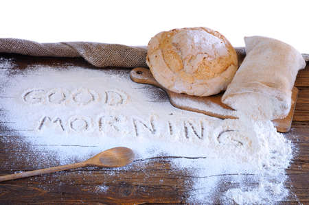 craftsperson: Bread on the table of the bakery. Stock Photo