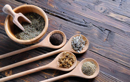 flavorings: Spices for seasoning in spoons on the table