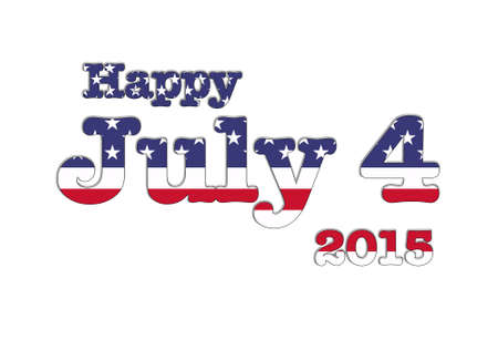 Illustration with July 4 USA flag on white background.