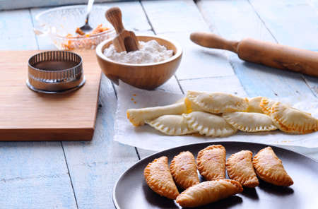 pasty: Small pies on the table, typical Spanish food.