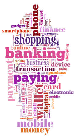 mobile banking: Illustration word cloud on the phone wallet