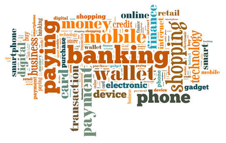 mobile phone: Illustration word cloud on the phone wallet