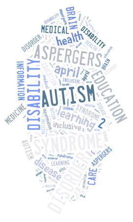 Illustration with word cloud on disease Autism illustration