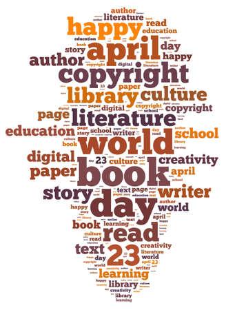 Illustration word cloud on world book day illustration